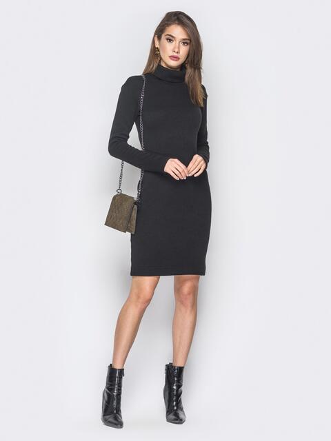 Платье-гольф черного цвета из ангоры - 18680, фото 1 – интернет-магазин Dressa