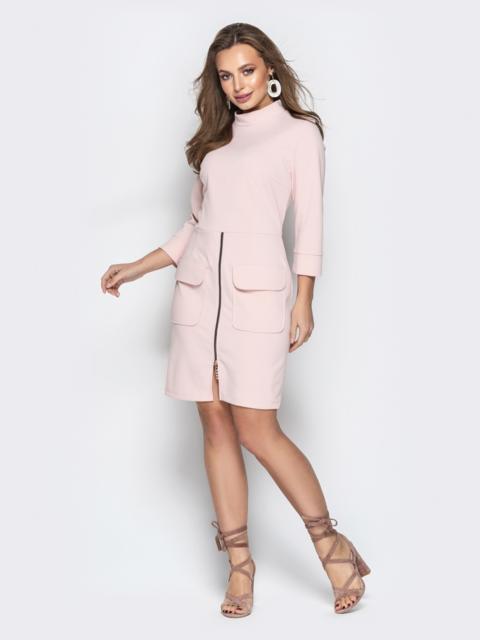 Пудровое платье с молнией на юбке и накладными карманами  - 20992, фото 1 – интернет-магазин Dressa