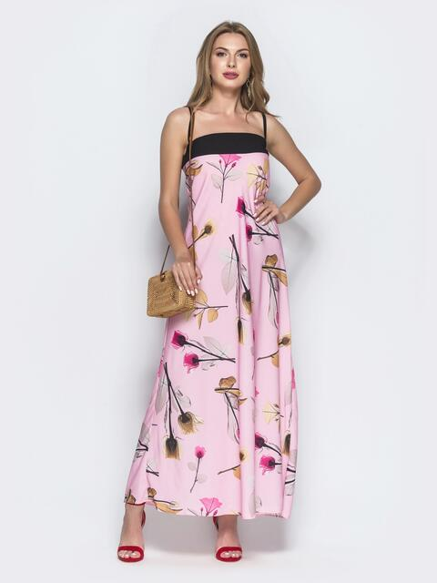 Розовое платье-макси с принтом и контрастным лифом - 39188, фото 1 – интернет-магазин Dressa