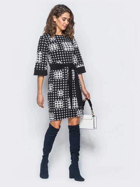 7bfac3f4efa Трикотажное платье с геометричным принтом и однотонным черным поясом -  17477