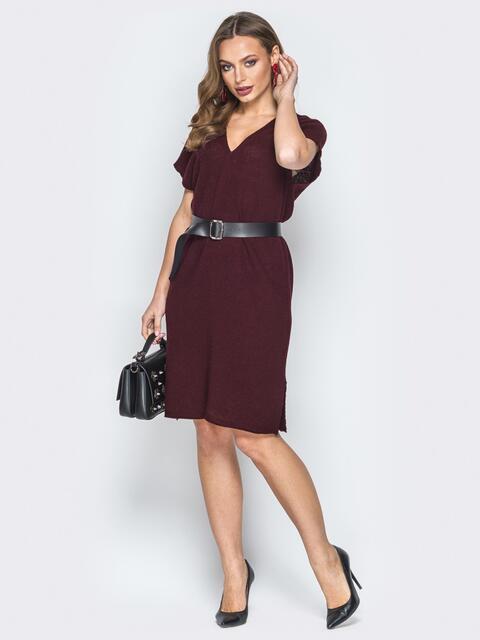 Бордовое платье с V-вырезом и кожаным поясом - 19841, фото 1 – интернет-магазин Dressa