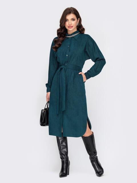 Цельнокроеное платье-рубашка из замши зеленое 52098, фото 1