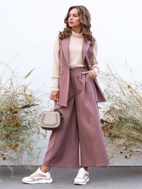 Лиловый комплект-тройка из жилета и брюк-палаццо - 40481, фото 1 – интернет-магазин Dressa