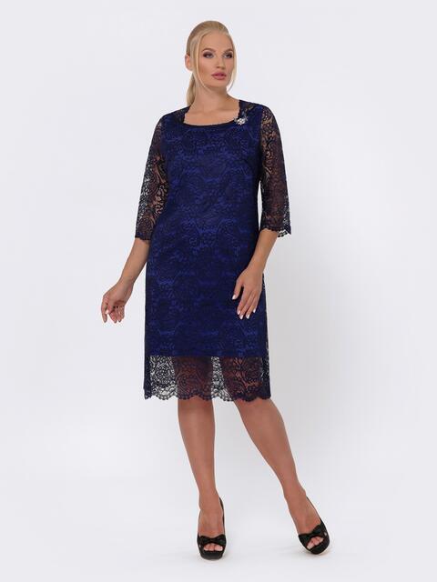 Платье-миди из кружева с рукавом 3/4 тёмно-синее - 42701, фото 1 – интернет-магазин Dressa