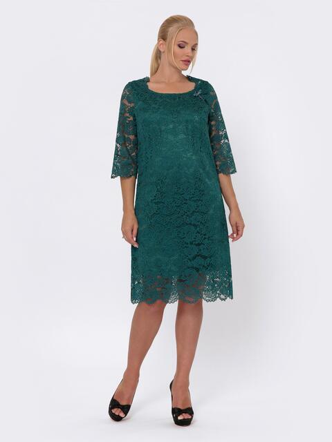 Платье-миди из кружева с рукавом 3/4 зелёное 42705, фото 1