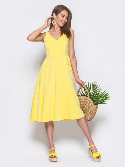 Платье-миди приталенного кроя с пышной юбкой желтое - 11555, фото 1 – интернет-магазин Dressa