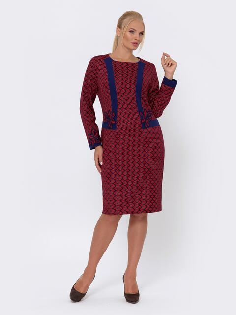 Платье приталенного кроя с принтом красное - 42700, фото 1 – интернет-магазин Dressa