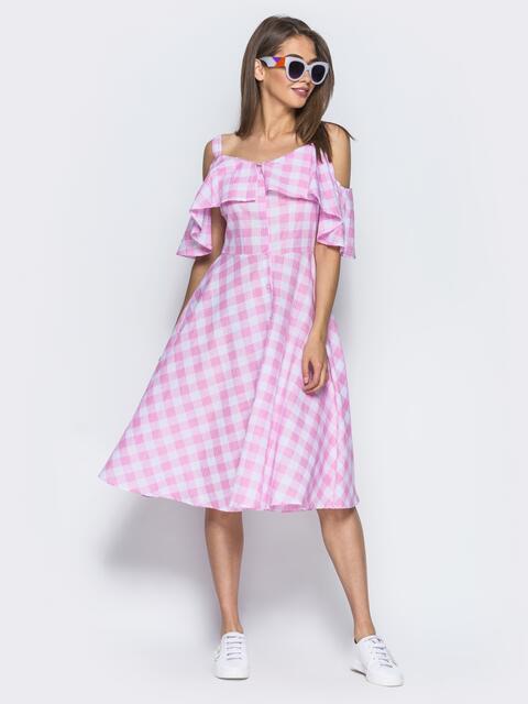 Сарафан с широкой оборкой и функциональными пуговицами розовый - 14551, фото 1 – интернет-магазин Dressa