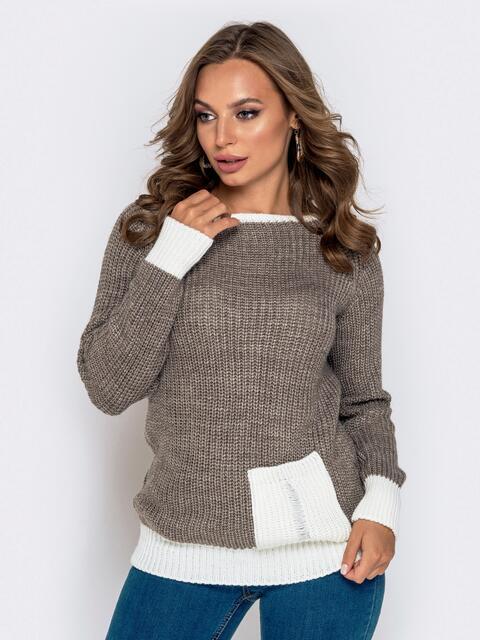 Серый свитер крупной вязки с накладным карманом 41200, фото 1