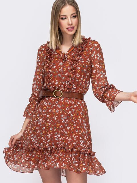 Шифоновое платье с принтом и рюшами терракотовое - 45558, фото 1 – интернет-магазин Dressa