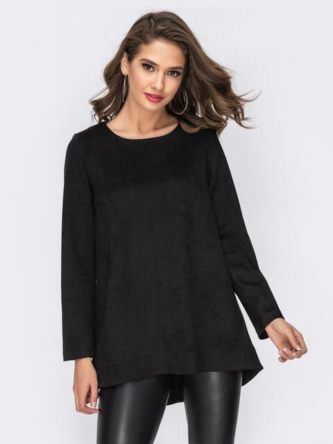 Свободный свитшот с удлиненной спинкой чёрный - 42449, фото 1 – интернет-магазин Dressa