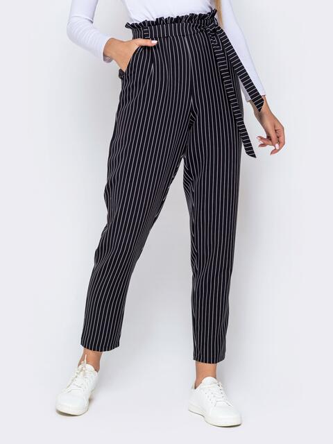 Чёрные брюки в полоску с завышеной талией и рюшами - 40667, фото 1 – интернет-магазин Dressa