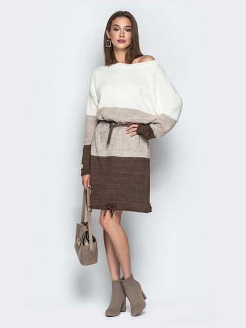 Коричневое платье прямого кроя с кулиской по низу - 20141, фото 1 – интернет-магазин Dressa