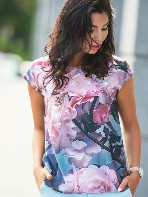 Лёгкая блузка с цветочным принтом - 10250, фото 1 – интернет-магазин Dressa