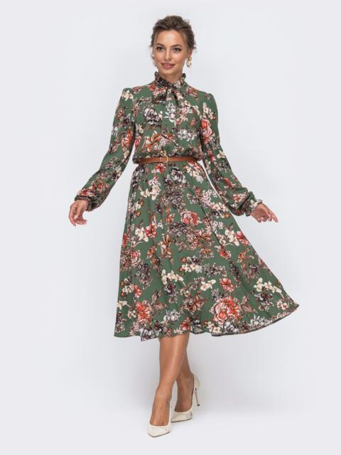 Платье цвета хаки с цветочным принтом и воротником-аскот 50629, фото 1