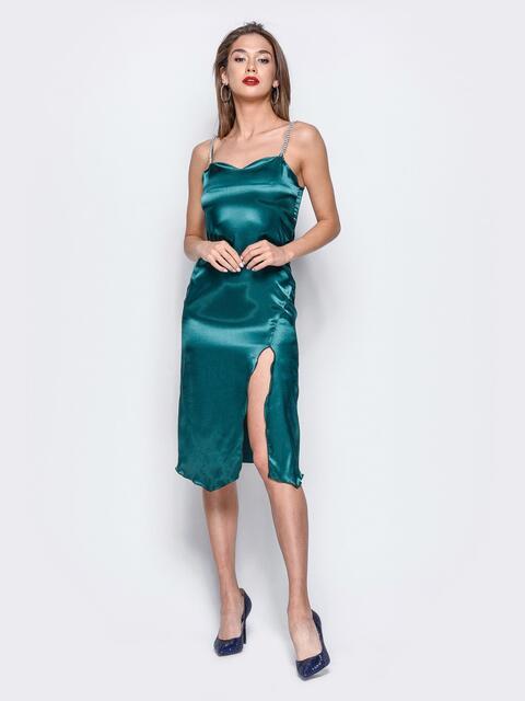 Платье из стрейч-атласа с высоким разрезом зелёное - 17928, фото 1 – интернет-магазин Dressa