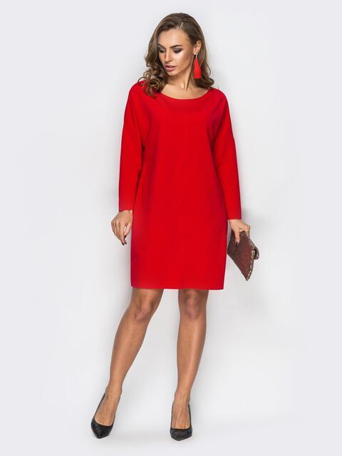 Платье с необработанными швами красное - 13811, фото 1 – интернет-магазин Dressa
