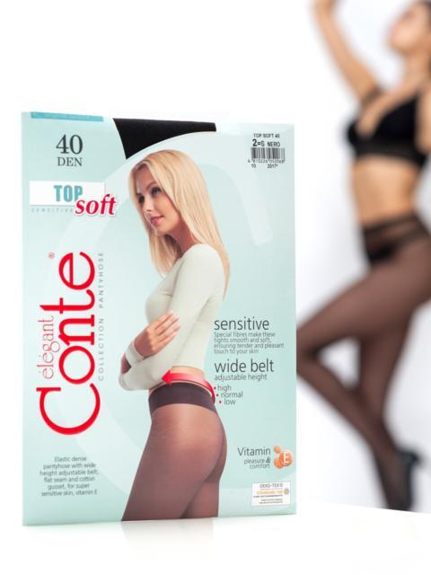 Плотные колготки Top Soft 40 den чёрные 43508, фото 1