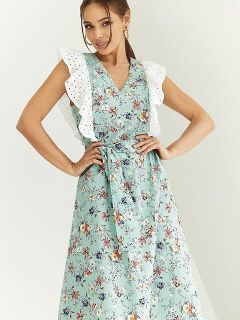 Расклешенное платье из штапеля цветочным принтом мятное 54023, фото 1
