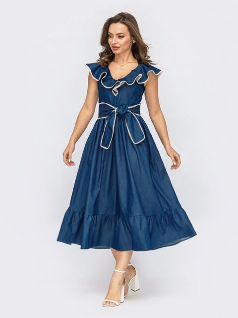 Синее платье из джинса с воланом 53815, фото 1