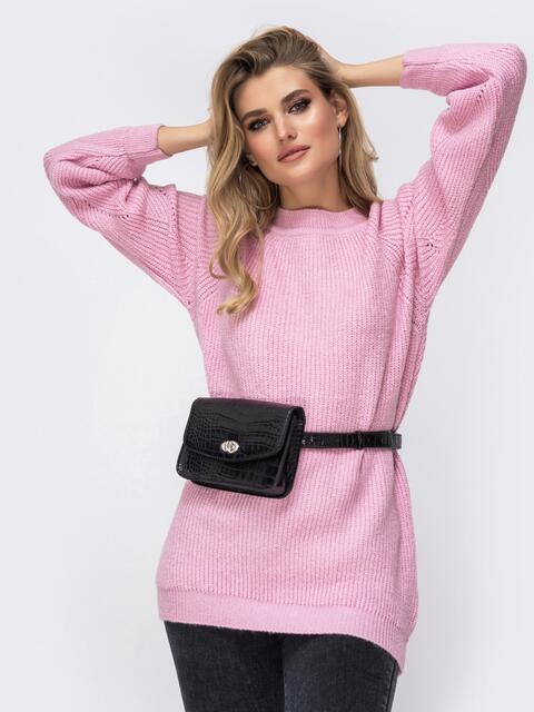 Свитер из шерсти с акрилом и рукавом-реглан розовый - 41798, фото 1 – интернет-магазин Dressa