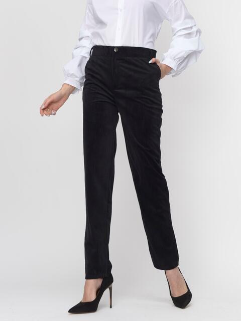 Вельветовые брюки со средней посадкой чёрные - 44824, фото 1 – интернет-магазин Dressa