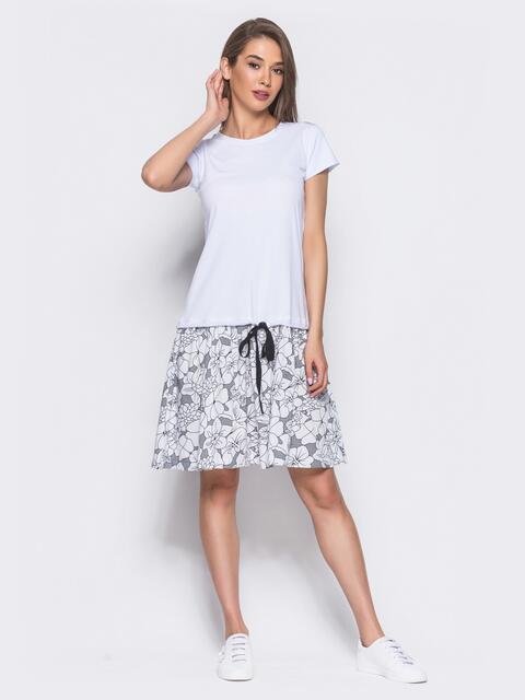 Белое платье-трапеция с оборкой из коттона и поясом-кулиской - 11136, фото 1 – интернет-магазин Dressa