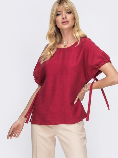 Блузка свободного кроя с разрезами по бокам цвета бордо  49340, фото 1