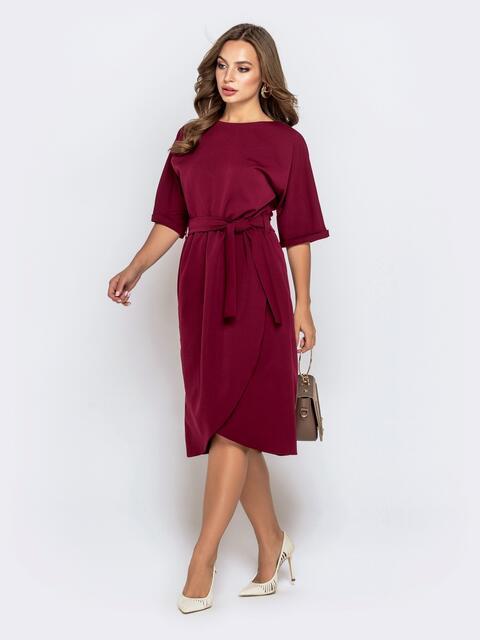 Бордовое платье с цельнокроеным рукавом и юбкой-тюльпан 40580, фото 1