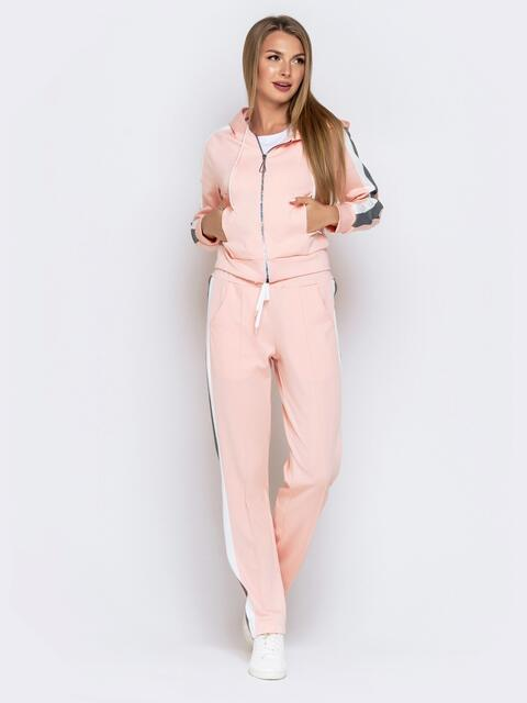 Костюм со вставками на кофте и брюках пудровый - 40714, фото 1 – интернет-магазин Dressa