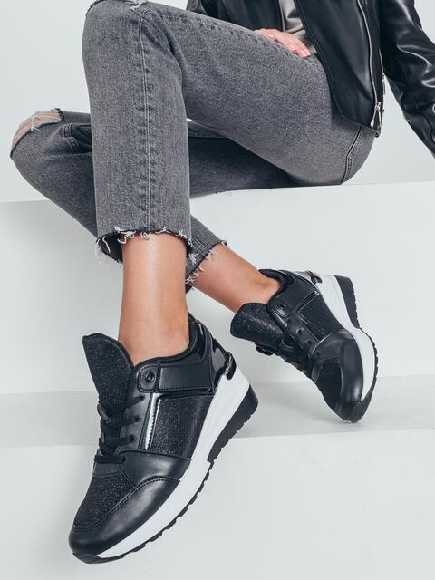 Кроссовки с контрастной подошвой черные 50689, фото 1