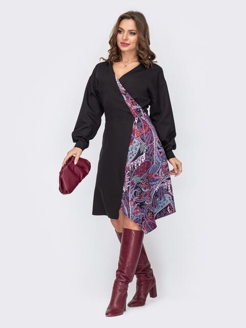 Платье с принтом и асимметричной юбкой-трапецией черное 52334, фото 1