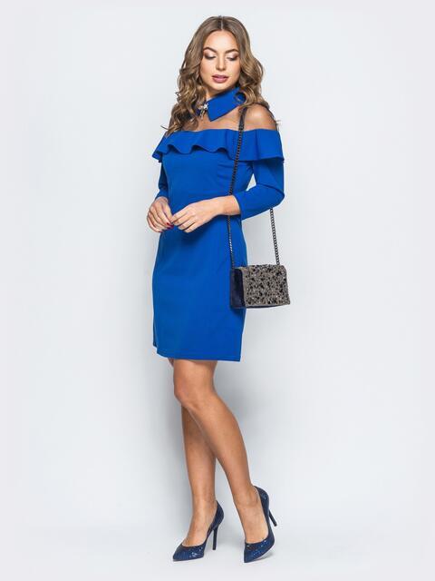 Платье синего цвета с фатиновой кокеткой и брошью - 17879, фото 1 – интернет-магазин Dressa