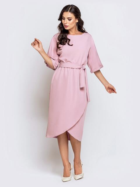 Пудровое платье с цельнокроеным рукавом и юбкой-тюльпан 40581, фото 1