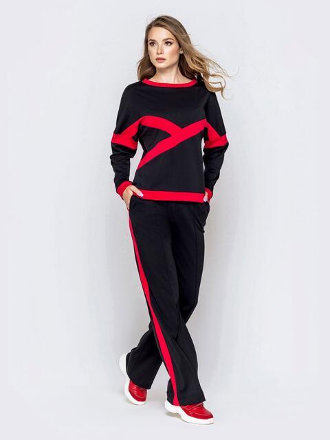 Спортивный костюм со вставками из кофты и штанов чёрный 40707, фото 1