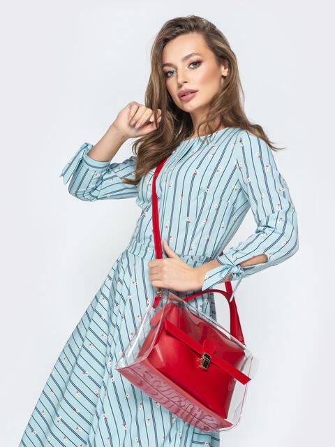 Трендовая прозрачная сумка красного цвета - 20573, фото 1 – интернет-магазин Dressa