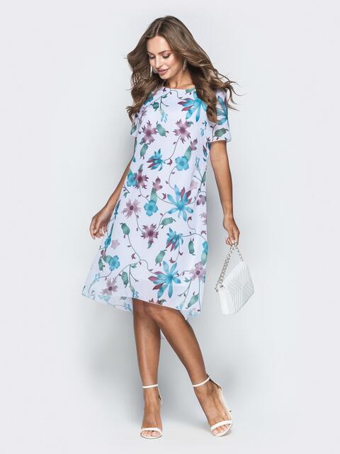 Белое платье-трапеция из шифона с цветочным принтом - 38963, фото 1 – интернет-магазин Dressa