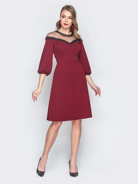 Бордовое платье с кокеткой из фатина - 18590, фото 1 – интернет-магазин Dressa