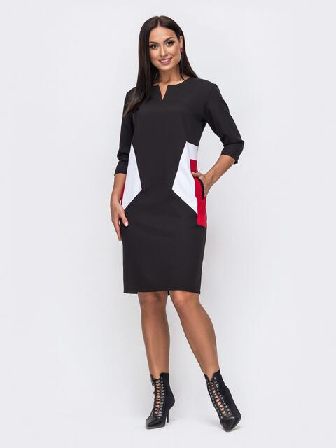 Черное платье батал с контрастными вставками 51464, фото 1