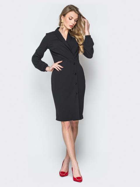 Чёрное платье отрезное по талии с фиксированным запахом - 20006, фото 1 – интернет-магазин Dressa