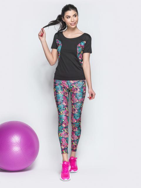 Чёрный комплект для фитнеса из лосин и футболки с принтом - 38765, фото 1 – интернет-магазин Dressa