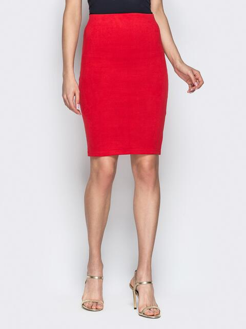 Красная юбка-карандаш из тисненой замши - 20678, фото 1 – интернет-магазин Dressa