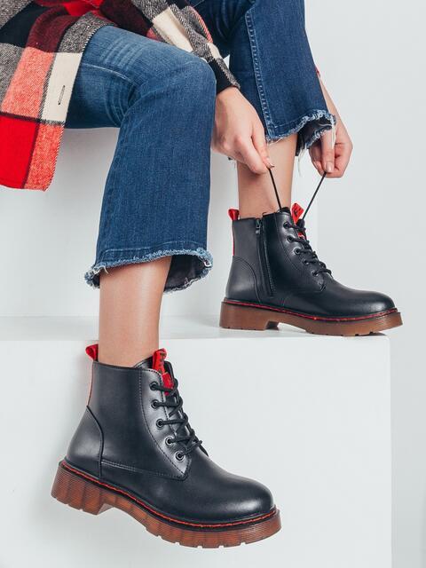 Осенние ботинки из искусственной кожи черные 50593, фото 1