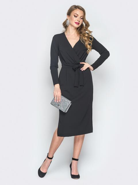Платье из креп-дайвинга с фиксированным запахом черное - 18489, фото 1 – интернет-магазин Dressa