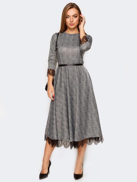 Платье в серую клетку с расклешенной юбкой - 17435, фото 1 – интернет-магазин Dressa