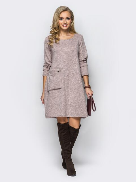 Розовое трикотажное платье-трапеция с необычным карманом на полочке - 13583, фото 1 – интернет-магазин Dressa
