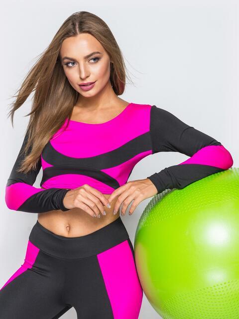 Укороченный лонгслив розового цвета с черными рукавами - 17211, фото 1 – интернет-магазин Dressa