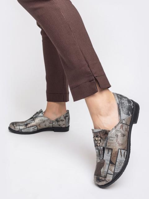 Серые туфли из натуральной кожи с принтом 41876, фото 1