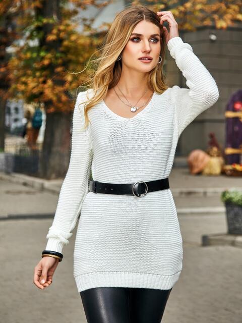 Белый свитер с люрексовой нитью и V-вырезом - 42397, фото 1 – интернет-магазин Dressa