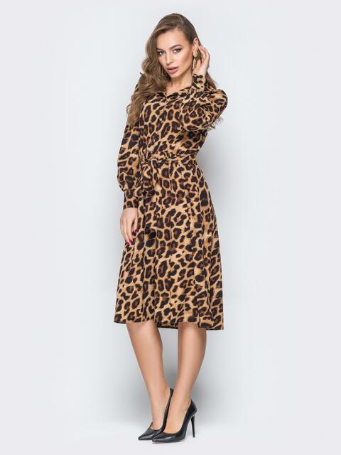 Леопардовое платье с резинкой по талии - 19585, фото 1 – интернет-магазин Dressa